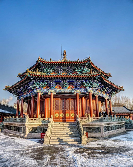 a traditional Chinese pavilion in Shenyang, China, a favorite stop for Shenyang travel guides