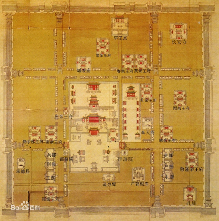a map of Mukden Palace, a recommended destination among Shenyang tour guides