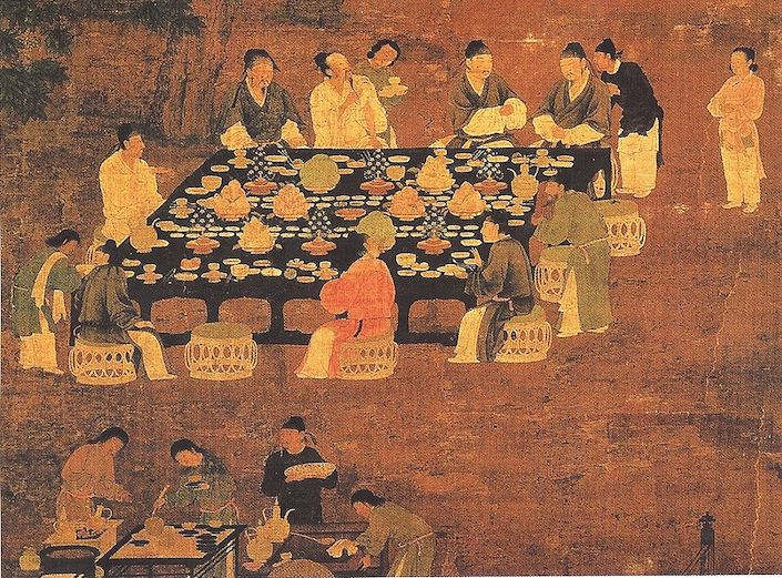 an ancient Chinese painting of people at a feast