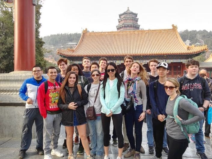a group of CLI students posing in the Summer Palace