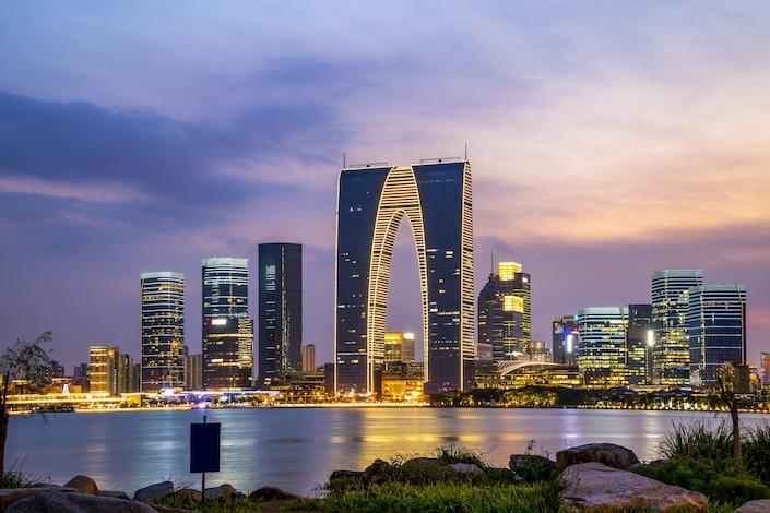 the modern skyline of Suzhou