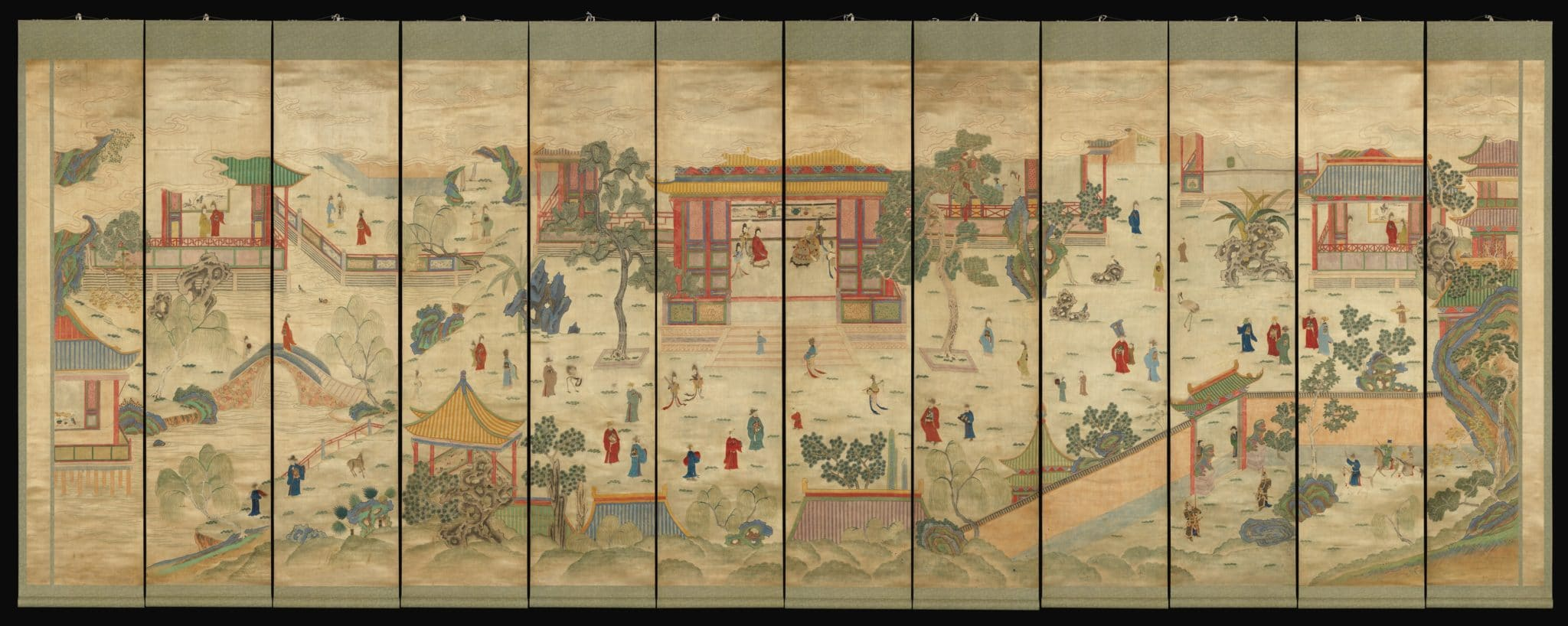 a traditional Chinese painting showing a scene featuring buildings, trees and people