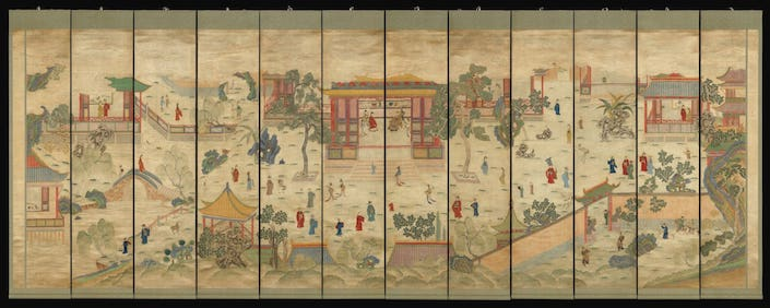 Chinese painting of scene featuring ancient buildings and people