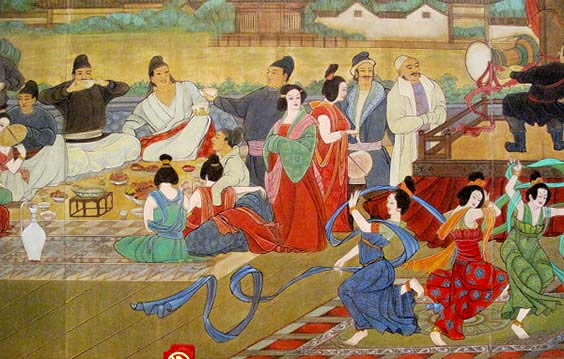 a painting of a group of Chinese and foreign people watching women dancing