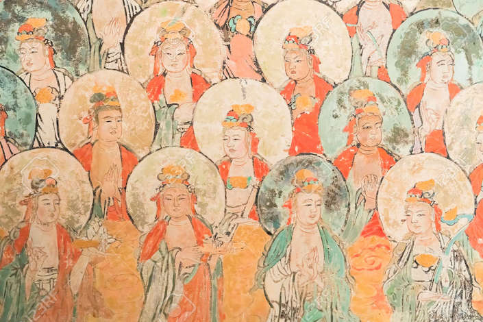 a Tang dynasty mural depicting Buddhist figures