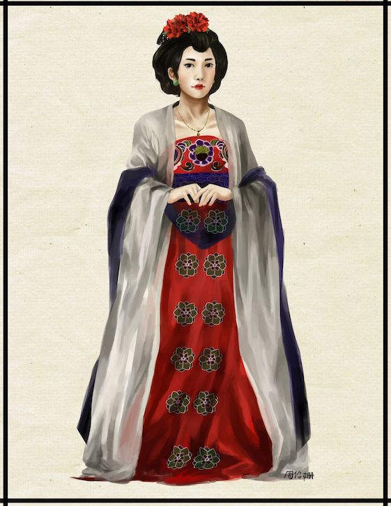 a Tang dynasty woman wearing red and grey robes