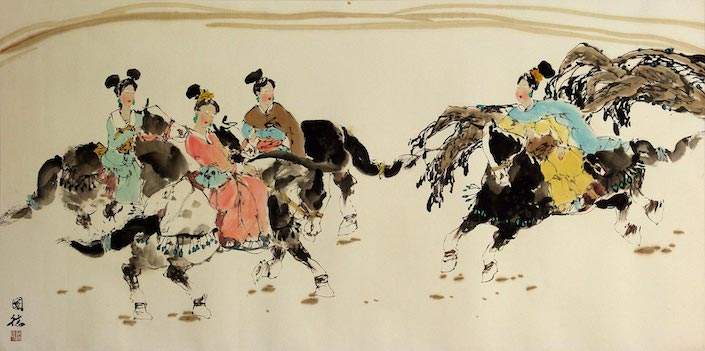 a Tang dynasty Chinese painting depicting women riding horses