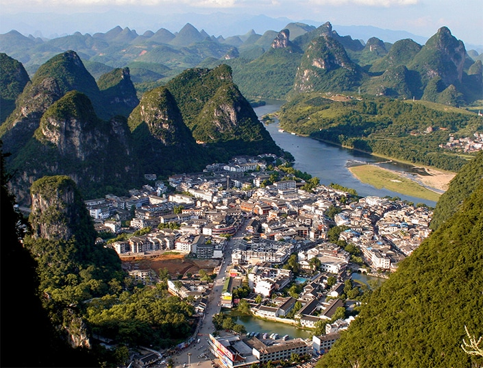 view of Yangshuo and surrounding karst mountains
