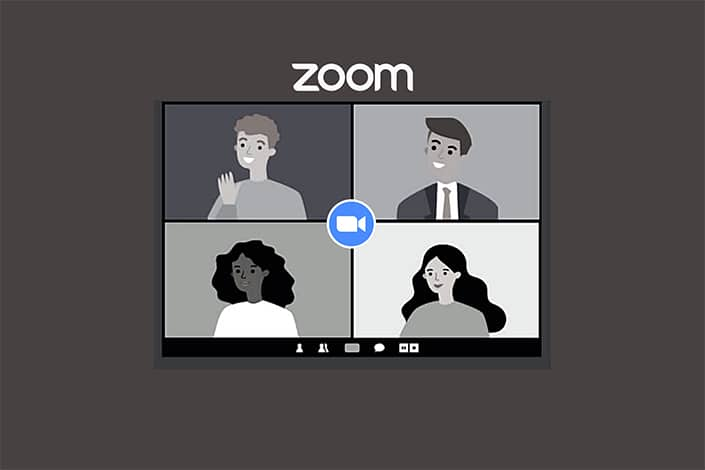 a graphic showing a Zoom meeting with four participants