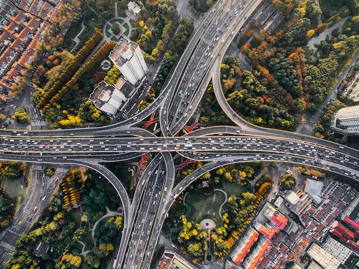 a crisscrossing, multilane highway seen from above