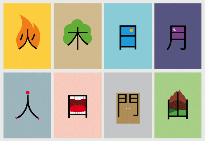 drawing of chinese characters with their meaning superimposed