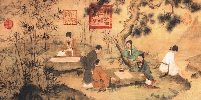 an ancient Chinese painting showing several scholars sitting under pine trees with bamboo in the foreground