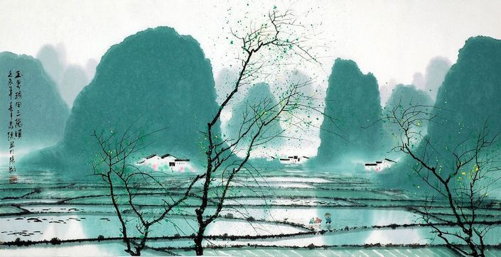 a traditional painting showing Guilin's karst mountains with flooded rice paddy fields and some trees in the foreground