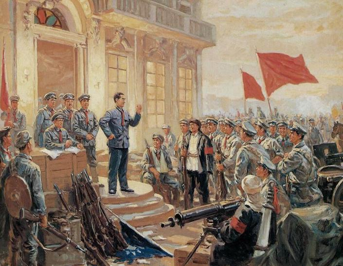 a drawing of Chinese army leaders standing on the steps outside a building and addressing a crowd of revolutionaries, two of whom are carrying red flags
