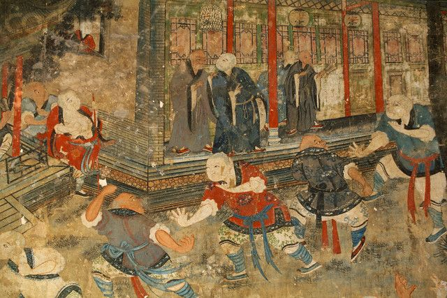 an ancient painting of Shaolin monks practicing Chinese kung fu