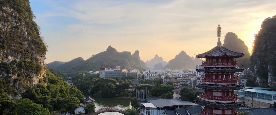 Guilin karst mountains, a lake, and a pagoda