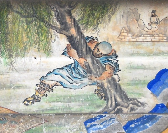 water painting of chinese man uprooting a tree