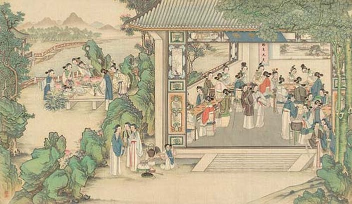 painting of chinese high society congregating in a hall