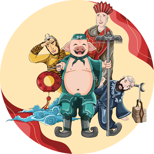four characters from chinas journey to the west