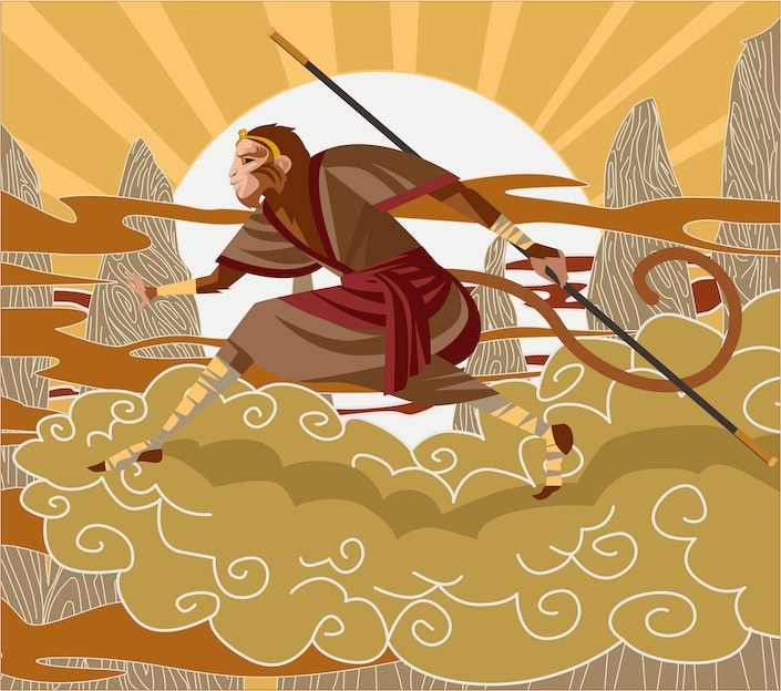 cartoon depiction of the monkey king