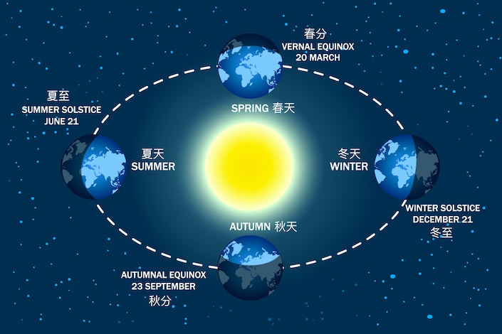 Earth seasons diagram. Autumnal and vernal equinoxes, winter and summer solstices concepts. Illumination of the earth during various seasons. Earth movement around the Sun. Stock vector illustration