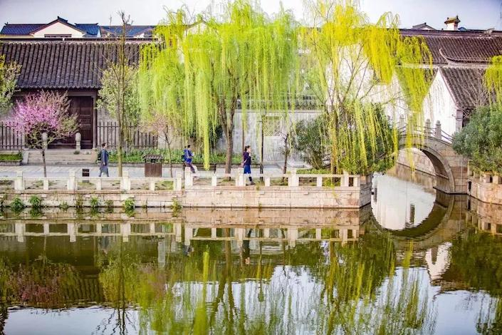 springtime in wuzhen with canal in foreground and stone walkway in background with spring trees