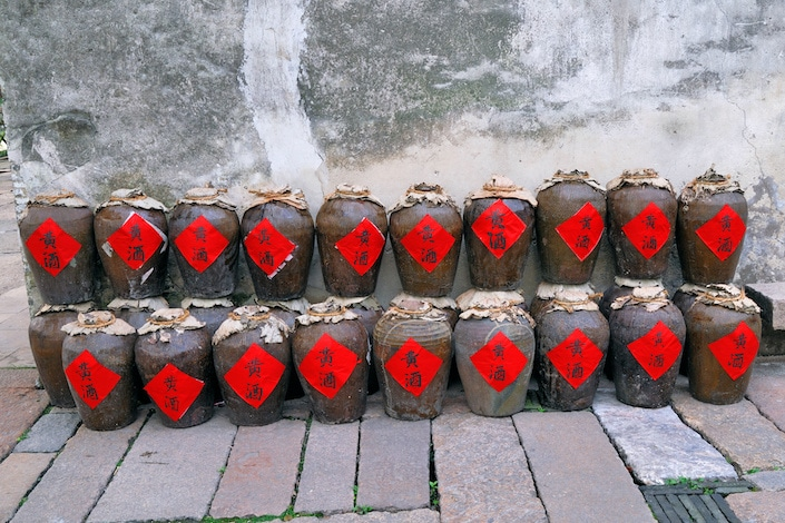 Chinese wine bottles at Shanghai Xizha old village
